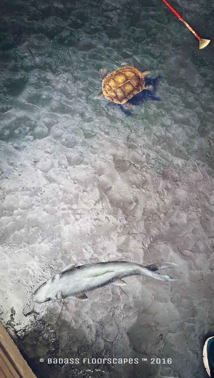 Turtle swiming with fish